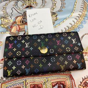 Louis Vuitton black multicolor wallet murakami